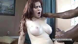 Busty housewife becomes horny and deepthroats huge black dick - duration 6:51