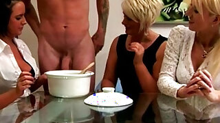 Euro CFNM milfs collecting his cum - duration 6:00