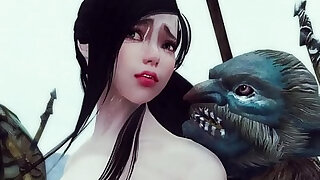 Sexy enchantress and mage caught and gangbanged by monsters Skyrim Hentai - duration 16:00