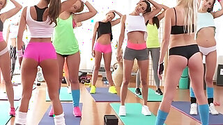 Fitness Rooms Big boobs lesbians have rampant gym threesome - duration 12:00
