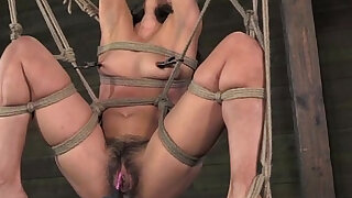 Spreadeagle subs hairy clit stimulated - duration 6:00