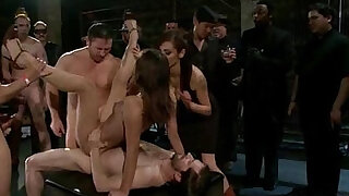 Struggling girl overpowered, suspended, bound - duration 5:00