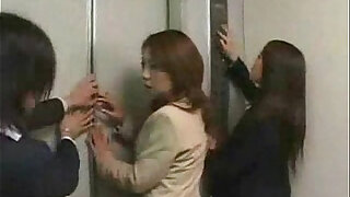 Asian girls in trouble in a lift gangbanged - duration 10:00