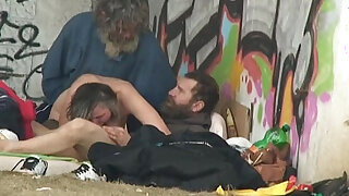 Pure Street Life Homeless Threesome Having Sex on Public - duration 6:00