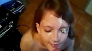 Cute Amateur Redhead Gets Creamy Facial - duration 4:00