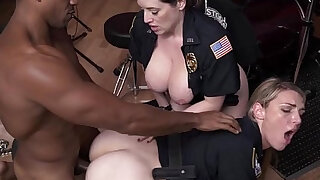 Crooked femdom cops trio with black thug - duration 6:00