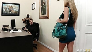 Busty brunette secretary Kiera King seduces her bosses at work - duration 7:00