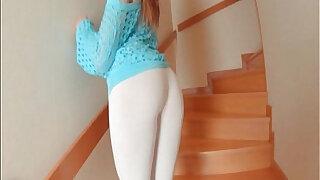 Brit redhead Samantha Bentley stretches ass with a glass dildo - duration 12:00