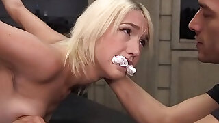 Flexible blonde slave gets huge dick in bondage - duration 5:00