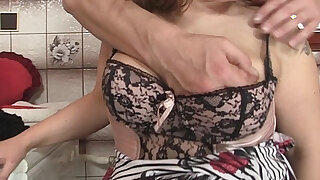 Hot mommy in stockings rides his big dick - duration 6:00