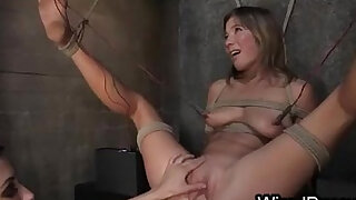 Tied up babe toying pussy with spread legs pussy deep fisted and ass wired and hard whipped - duration 7:00