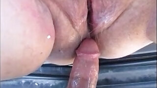 Hot pregnant mom gets fuck in car and creampie inside - duration 11:00