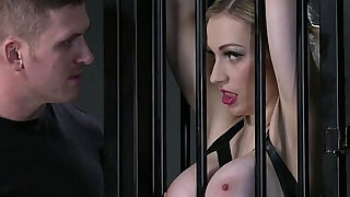 BDSM XXX Big breasted blonde gets a hardcore lesson inside her cage - duration 13:00