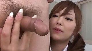 Miku Airi Asian schoolgirl blows a big dick - duration 12:00