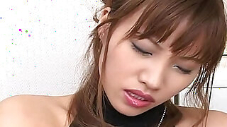 Horny Japanese AV model strips out of her slutty outfit to toy her pussy - duration 7:00