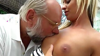 Angelina Julie fingered by old perv before sucking his cock - duration 6:00