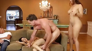 Mother and step daughter double team boyfriend while father naps. - duration 7:00