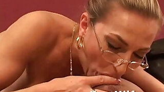 MILF with big tits giving a nice blowjob - duration 5:00