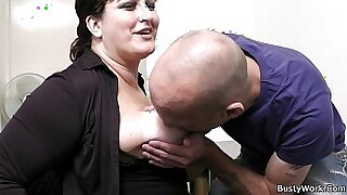 office secretary with big tits straponfucked - duration 6:55
